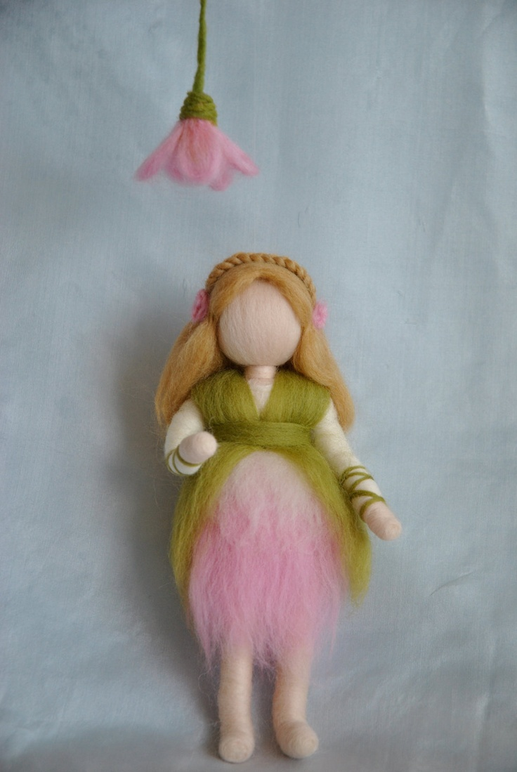 Waldorf inspired needle felted doll mobile:  Pink flowers fairy