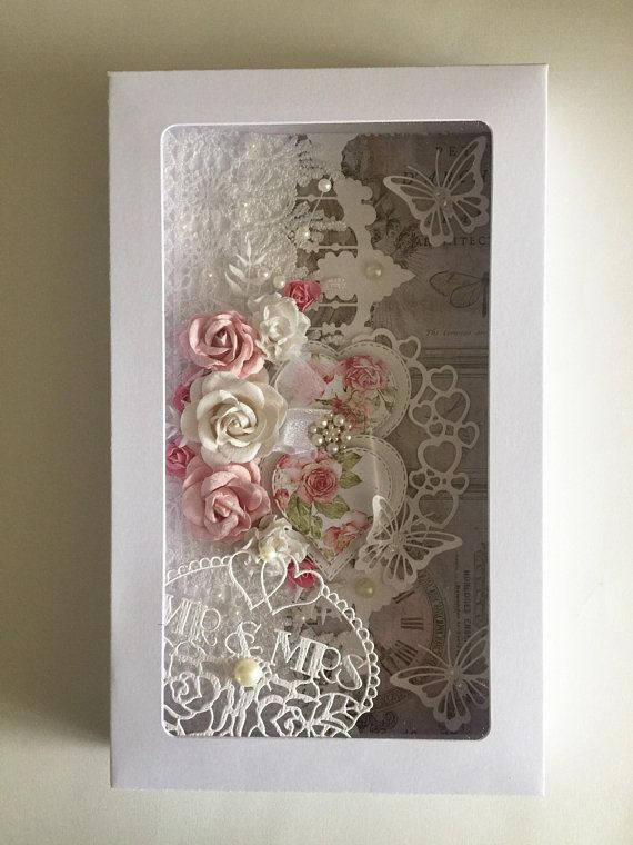 Larger Shabby style Wedding card personalised with