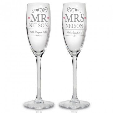 Mr & Mrs or any combo personalised flutes