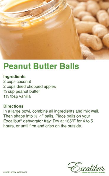 Make a great #Snack for the #Holidays! Try tasty #Peanut Butter Balls with Excalibur Dehydrators!