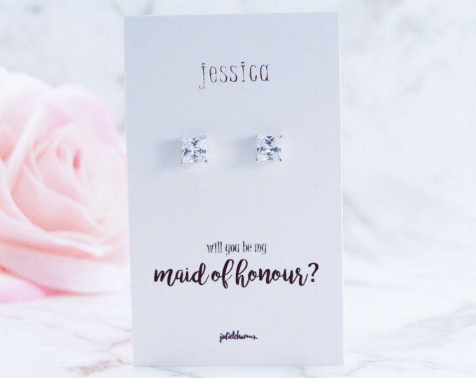 Platinum, Princess Cut CZ Earrings, Bridesmaid Gift, Be My Bridesmaid, Bridal Party Gift, Bridesmaid Proposal, Maid of Honour, Flower Girl