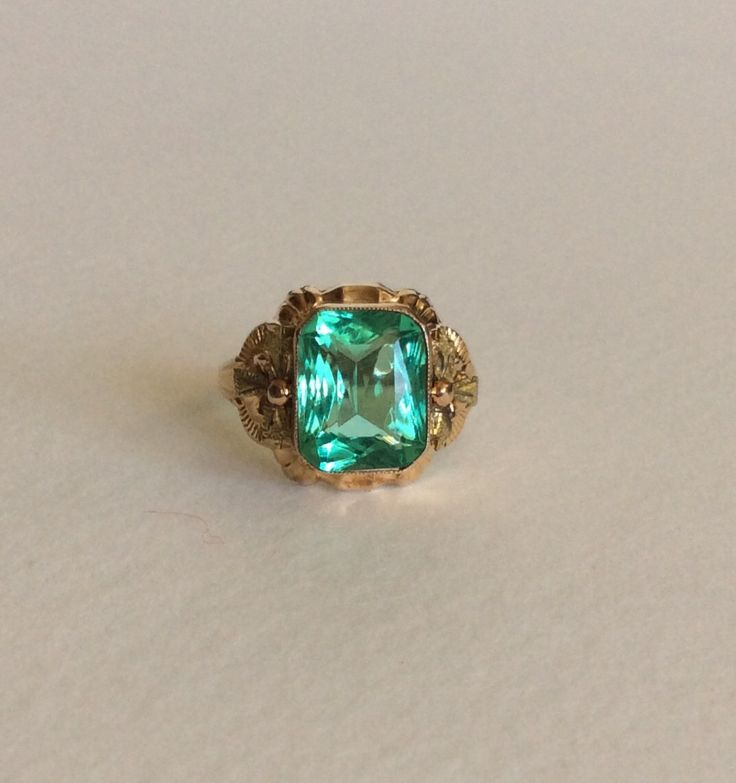 Mint Green gem solid 10k gold repousse ring with green leaves (159.00 USD) by EmBound