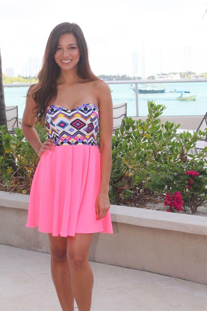 Neon Pink Aztec Short Dress