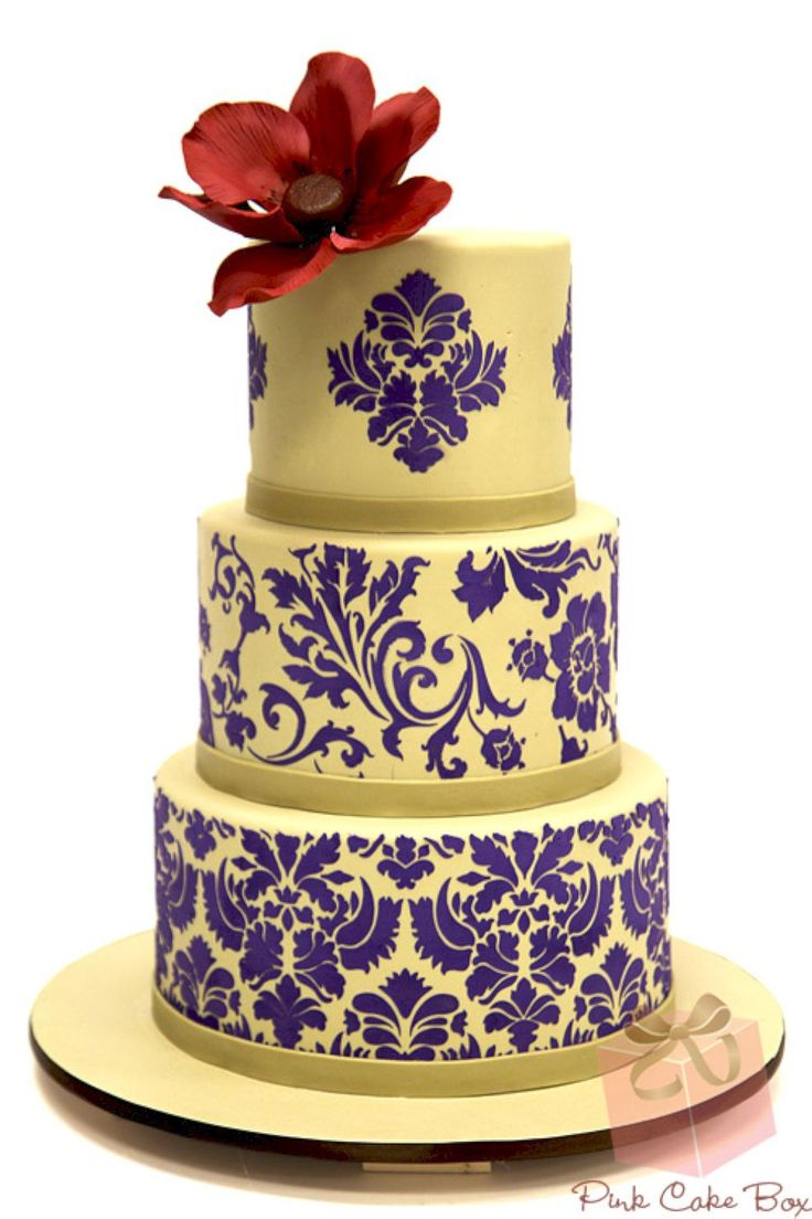 nice 80 Stunning Damask Wedding Cake  https://viscawedding.com/2017/07/18/80-stunning-damask-wedding-cake/