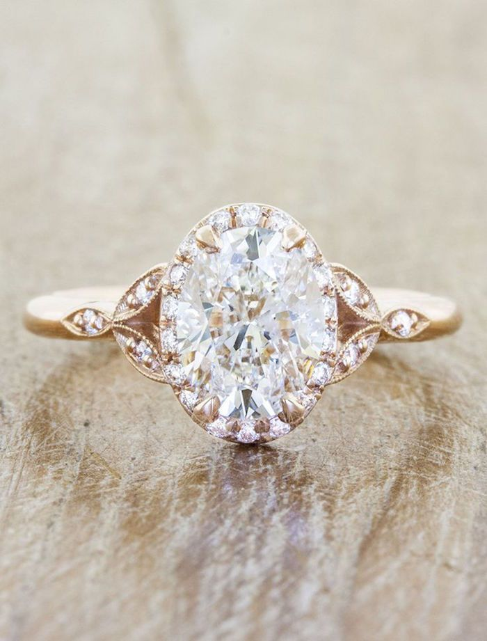 Gold engagement ring with intricate design. ~ Ken and Dana Design