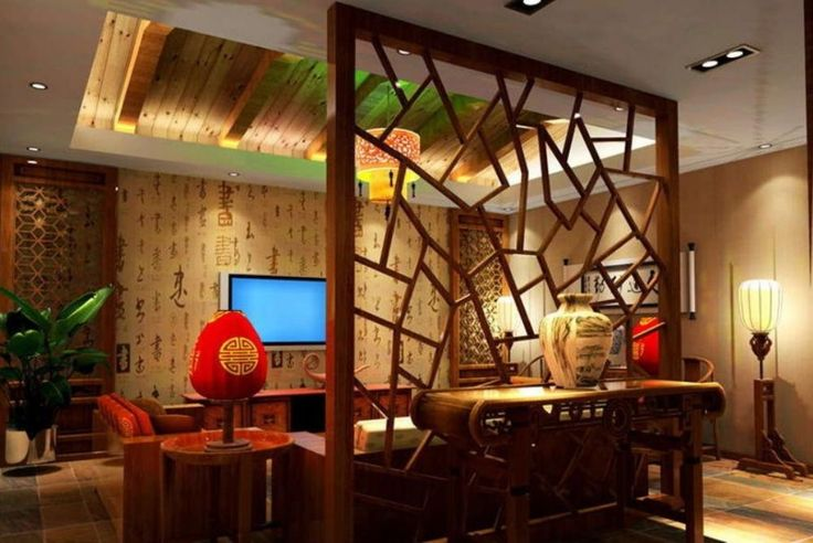Wood Partition Living Room Interior Design Chinese Style 1000x669