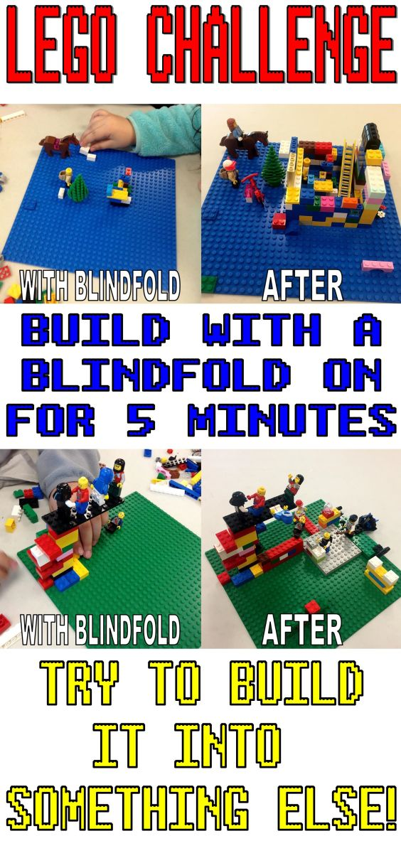 Lego Club Idea for LibrariesBuild with a Blindfold on