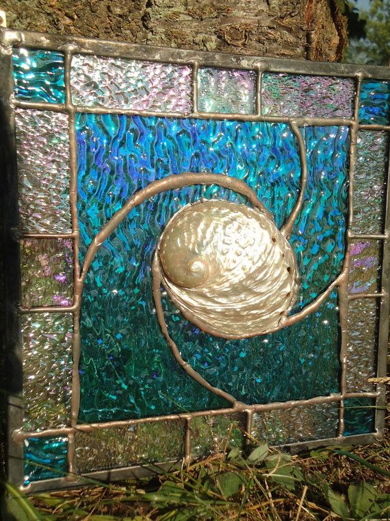 Tiffany Styled Stained Glass Abalone Shell Panell by HelioGlass