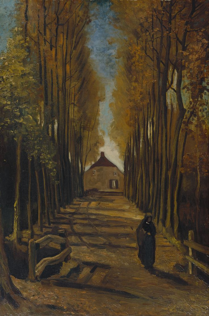 Vincent van Gogh, AVENUE OF POPLARS IN AUTUMN. Post-impressionnisme, 1884. Van Gogh Museum, Amsterdam. Huile sur toile.