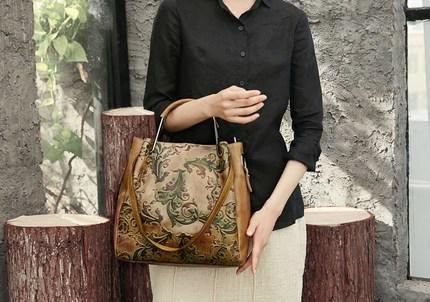 Full Grain Leather Women Tote Bag, Printed Shoulder Bag FY1248