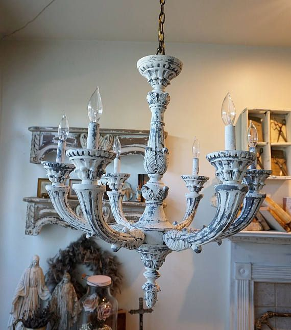 French Country Farmhouse Chandelier Lighting Heavy Ornate Wood Painted Gray White Distressed Nordic Lighting Home Decor Anita Spero Design