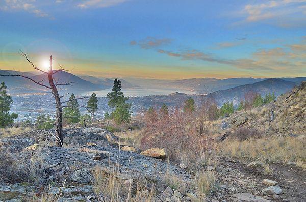 A pastel coloured morning at Wiltse Mountain overlooking Okanagan Lake in Penticton, BC Canada