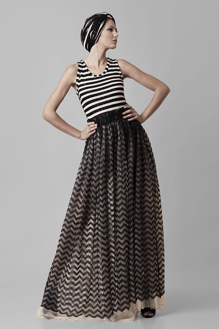 Fragile | @Nassos Ntotsikas Spring/Summer 2015 collection #NassosNtotsikas #SS2015 #GreekDesigner #Stripes #FashionDesigner #KnitYourDreams #Maxi #Skirt
