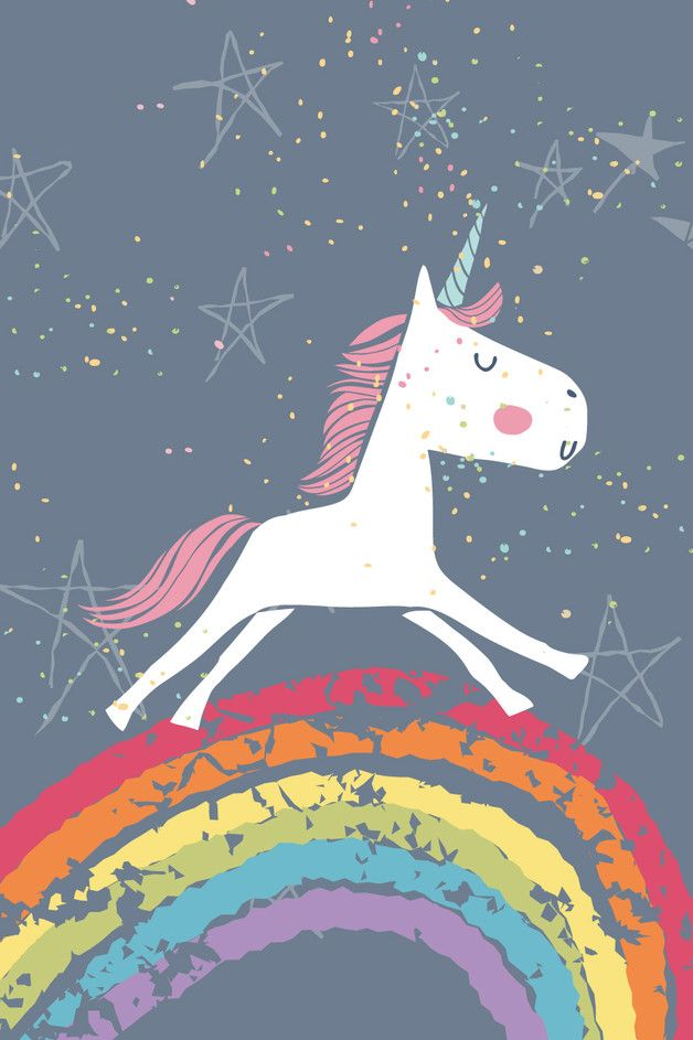 Süßes Poster für Verträumte: Einhorn auf Regenbogen / must-have for all unicorn lovers: illustrated artprint with galaxy unicorn on a rainbow made by schrift-gestalten.de via DaWanda.com