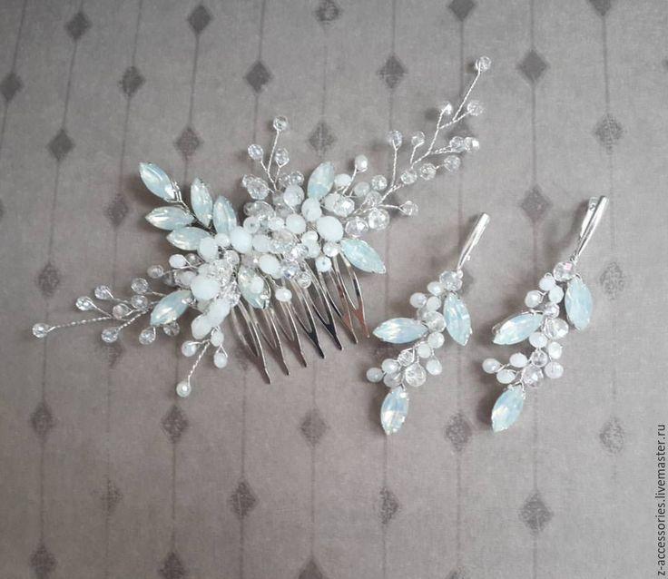 """Купить Гребень """"Белый опал"""" - свадебное украшение, свадебные аксессуары, украшение для волос, украшение для невесты"""