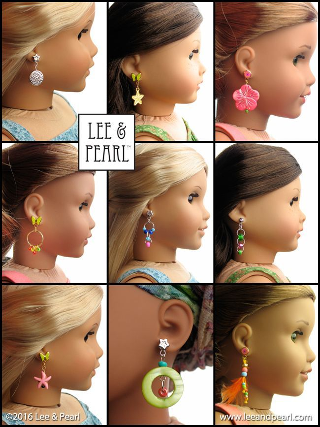 """Make your own JEWELRY for 18"""" Dolls, like the amazing earrings our American Girl dolls are wearing! Introducing the Lee & Pearl 2016 FREE Pattern for mailing list subscribers - #1035: Olá Brasil! - which includes a 15 page Introduction to Jewelry Making section. To get your FREE copy of this pattern, join our mailing list at http://www.leeandpearl.com before the end of January, 2017."""