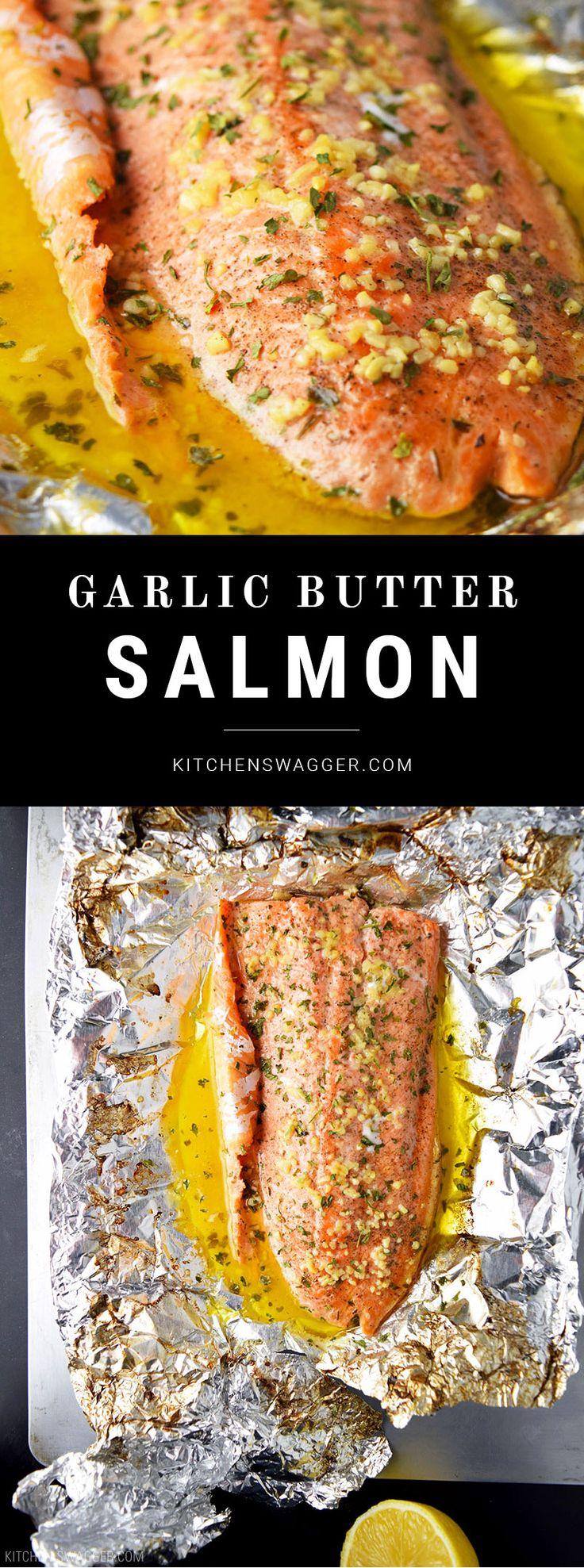 Easy lemon, garlic, and butter steelhead trout recipe prepared in foil.