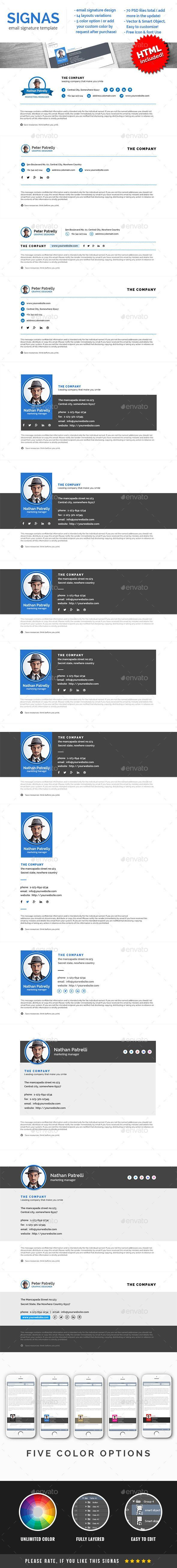 Signas Vol.02 - Email Signature Template by webElemento A sharp and professional email signature template for creative businesses, that will suit for your company or personal email sig