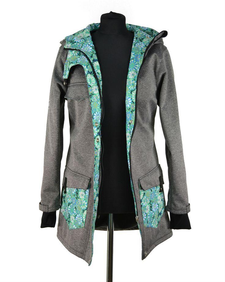 Punk kabát šedý, žíhaný + podšívka fleece