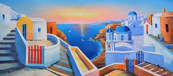Santorini Sunset 5- Oil Painting on Canvas,LandscapePainting,Palette Knife,SummerPainting,GreecePainting,Santorini Greece,Greek island
