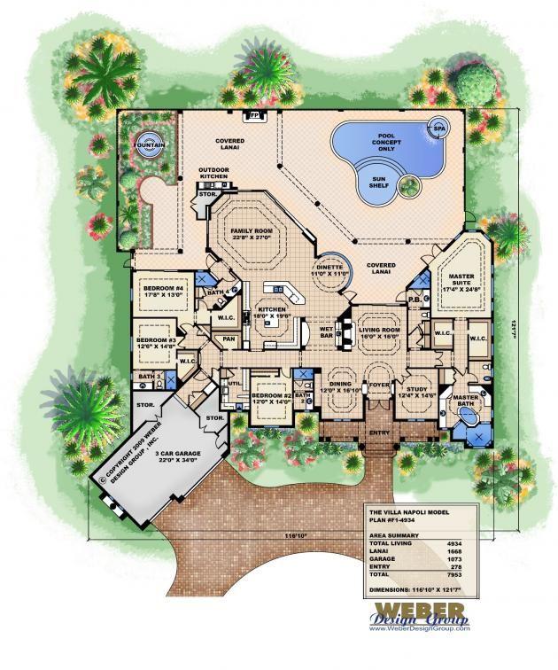 Villa Napoli Floor Plan by Weber Design Group Mediterranean Style Home Plan