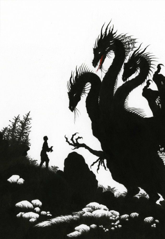 Ivashko too walked and walked, and met the three-headed dragon; The Three Kingdoms - Myths and Legends of Russia by Aleksandr Afana'ev, 2009