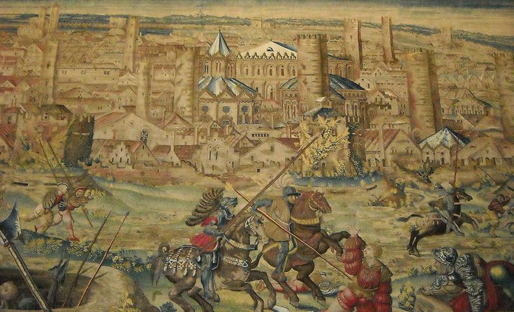 "Tapestry: ""Battle at Pavia between Francis I, King of France, and Emperor Charles V"" (1525) - Bruxelles manufacture - cartoon of Bernart von Orley (1526-1531) - Naples Capodimonte Museum 