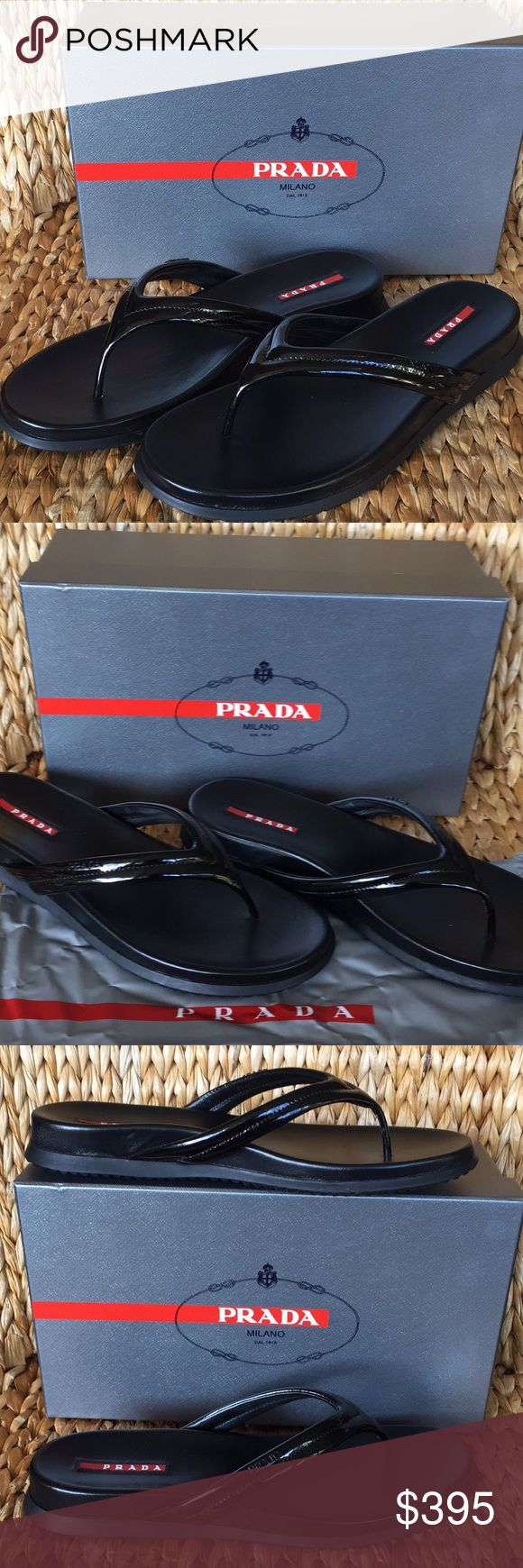 NIB Prada Black Patent Sandals 41 best for 9-10 US NIB Prada Flip Flop Sandals in size 41. These run small so best for a size 9-10 US. I'm a size 9.5 and they are perfect for me. Black patent leather straps with black Prada logo on outer strap. Leather footbed is super soft and supportive. Nice thick rubber bottoms so these will last for many many years. Come with original box and Dustbag. Proof of purchase upon request at time of purchase.... Prada Shoes Sandals