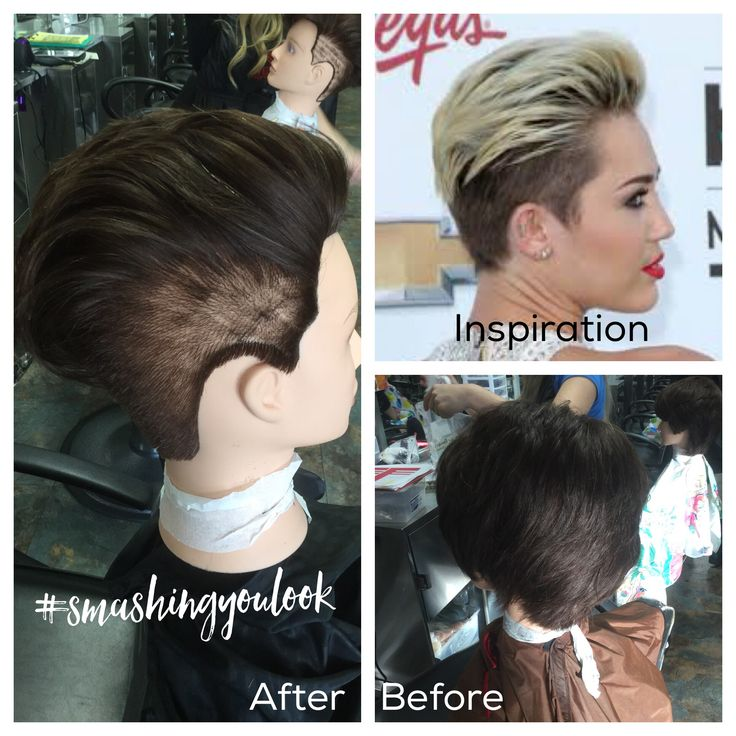 Pixie cut.cut at 90 degrees and slowly directed back. Used a 4guard and blended down to a 1 guard. Texturized using slide cutting on the surface to create movement. Styled with rugged fix. #mileycyrushair #smashingyoulook #hairartistashlie 11/14/16