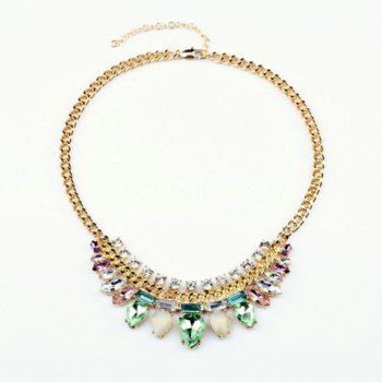 Elegant Light Color Faux Crystal Waterdrop Pendant Alloy Necklace For Women, AS THE PICTURE in Necklaces | DressLily.com