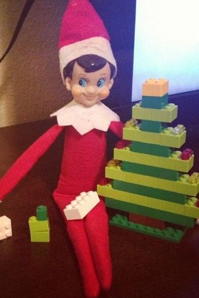 Elf on a Shelf - Made Christmas trees out of the Legos!