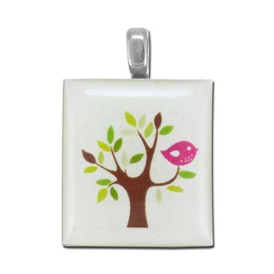 Colorful Funky Tree Scrabble® Tile Pendant