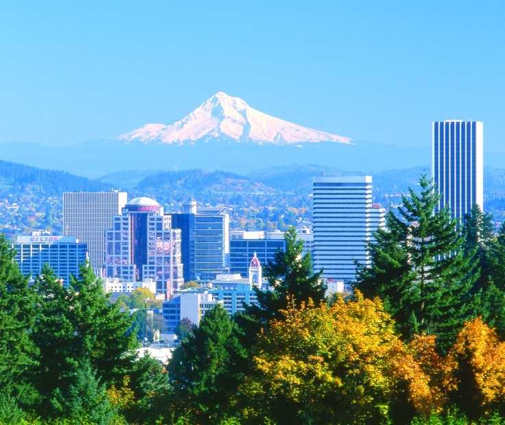Portland Oregon with beautiful mt. Hood in the background !