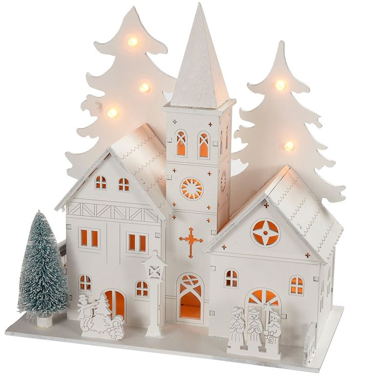 WeRChristmas 22 cm Pre-Lit Wooden House Scene Christmas Decoration Illuminated with 8 Warm White LED Lights