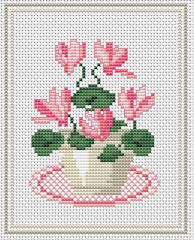 Cyclamen free cross stitch pattern