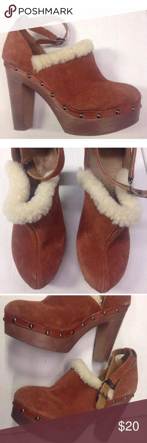 Mule clog HEEL FAUX fur suede shoes CUTE PAIR OF BROWN SUEDE HIGH HEEL MULES WITH FAUX FUR TRIM  WOMEN SIZE 38 EUR  PLASTIC FAUX WOOD SOLE ANKLE STRAP  EXCELLENT CONDITION, LIGHTLY USED, CLEAN  SEE PICTURES FOR DETAILS Shoes Mules & Clogs
