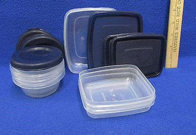 Small Mini Storage Containers Clear Plastic Food Crafts Navy Blue Lids Lot of 6
