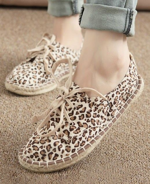 Espadrille Flat Shoes with Leopard Print