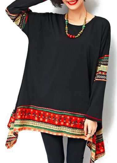 Printed Asymmetric Hem Round Neck Black T Shirt on sale only US$30.16 now, buy cheap Printed Asymmetric Hem Round Neck Black T Shirt at lulugal.com