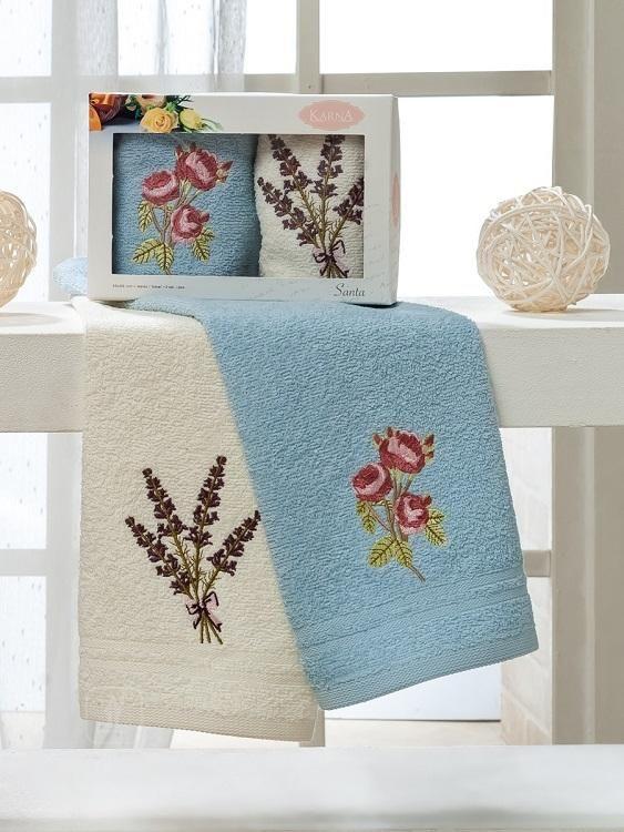 Набор полотенец с вышивкой KARNA SANTA V2 30х50 (2шт) от Karna (Турция) - купить по низкой цене в интернет магазине Домильфо