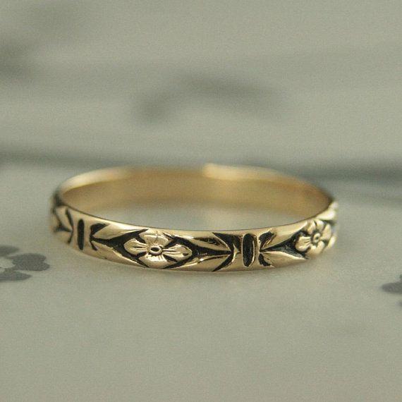 Gold Antiqued Ringgold Wedding Bandorange Blossom Etsy Black Gold Ring Women Black Gold Ring Vintage Style Rings