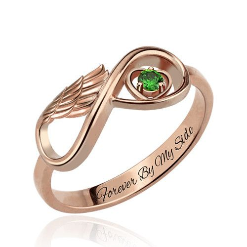 One Stone Infinity Angel Wings Rose Gold Ring