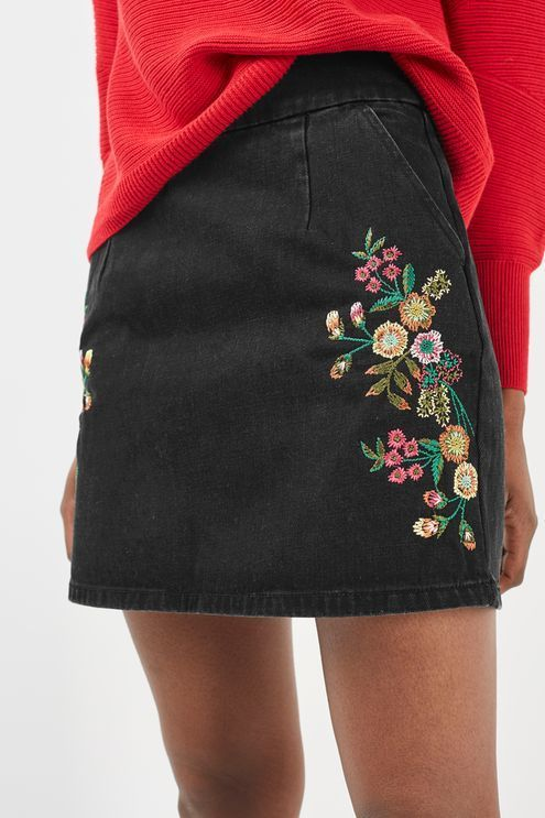 Pair a bright-colored sweater with a black embroidered skirt. Let DailyDressMe help you find the perfect outfit for whatever the weather!