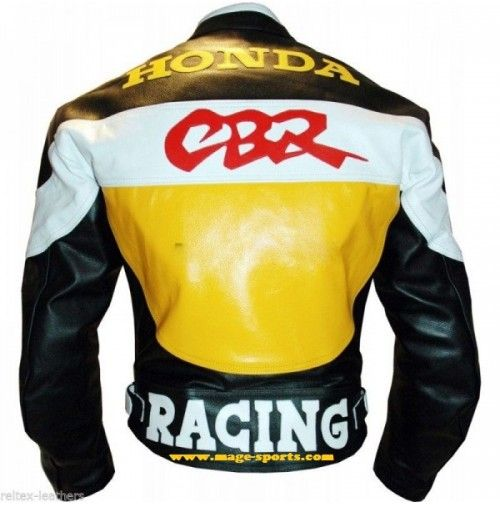 Men's Honda CBR Three Tone Yellow Black White Cont Racing Motorbike Genuine Leather Jacket