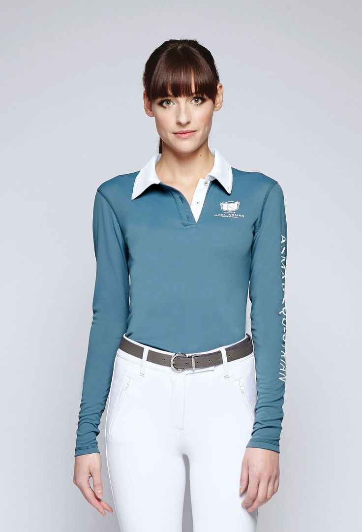 Twilight Classic Long Sleeve Polo from Asmar Equestrian. Also available in Chianti for Fall.
