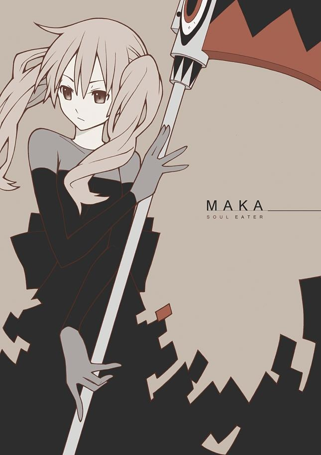 Soul Eater: Maka and Soul in his weapon form.