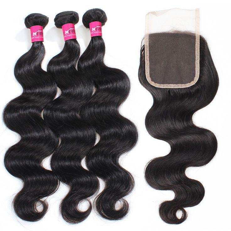 4Pcs/Pack Cheap Hair Bundles With Baby Hair Lace Closure Brazilian Body Wave Hair Bundles Virgin Hair Extensions
