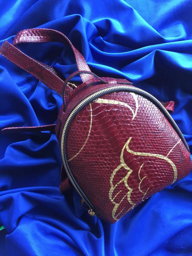 Art leather backpack. Graffiti backpack. Genuine Leather Mini  Backpack. Python Leather Backpack. Small backpack. Summer leather backpack. by StudioANTU on Etsy