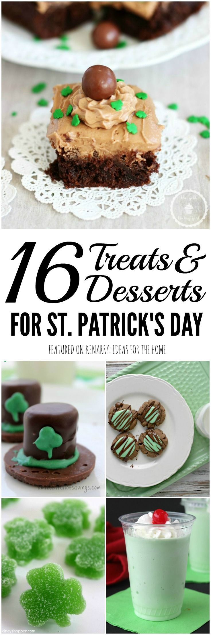 Celebrate on March 17 with any of these 16 St. Patrick's Day Treats and Party Ideas including delicious desserts, drinks, snacks and other recipes.