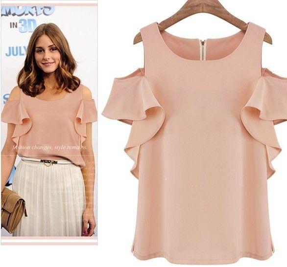 Free-shipping-2014-new-women-chiffon-blouse-women-new-casual-Strapless-wild-lotus-sleeve-chiffon-shirt.jpg (586×546)